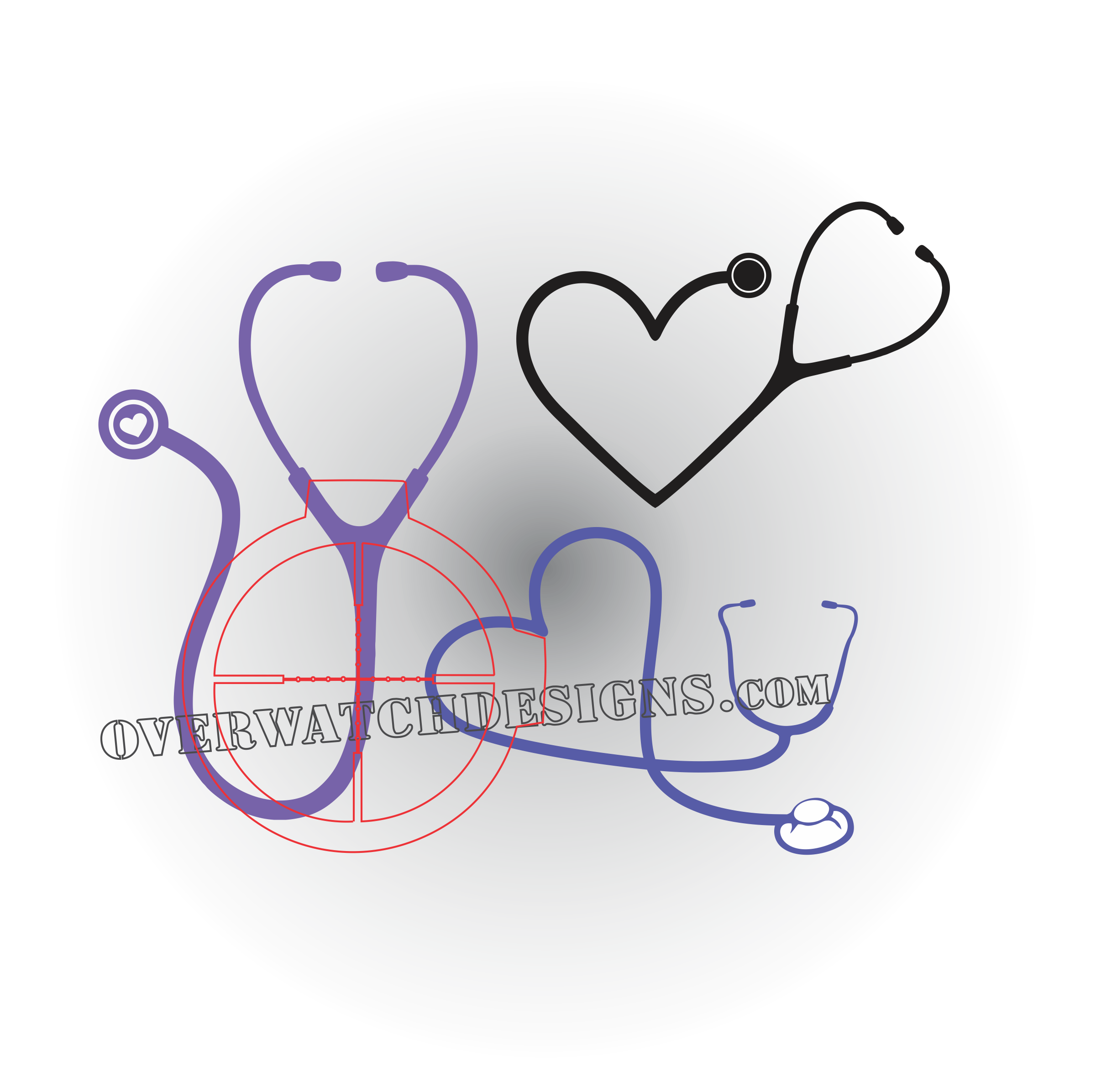 Heartbeat clipart emt. Stethoscope decal overwatch designs