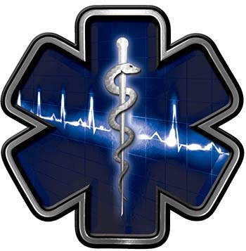 Reflective star of life. Heartbeat clipart emt