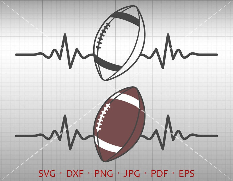 Svg silhouette cricut cut. Heartbeat clipart football