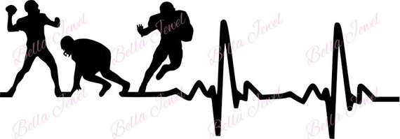 Heartbeat clipart football. Svg player my heart