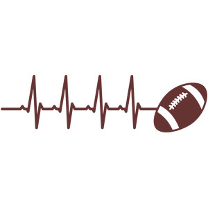 Silhouette design store view. Heartbeat clipart football