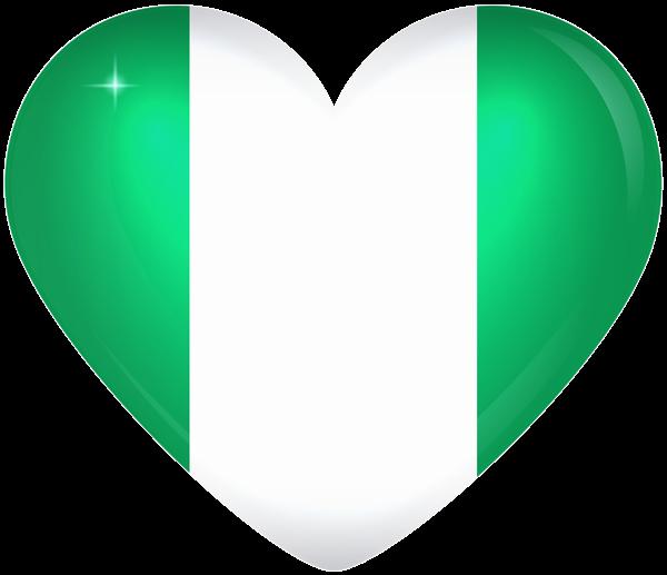 Nigeria large heart flag. Heartbeat clipart green