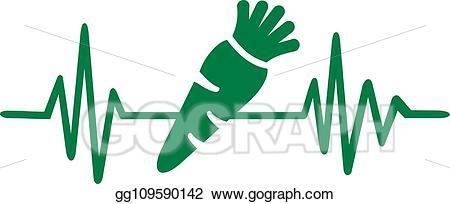 Heartbeat clipart green. Vector vegetarian line
