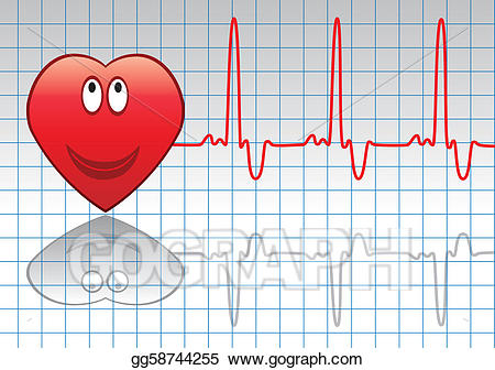 Vector heart and illustration. Heartbeat clipart happy