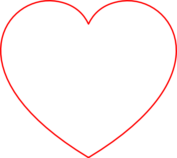 Heartbeat clipart lifeline. Red heart thin outline