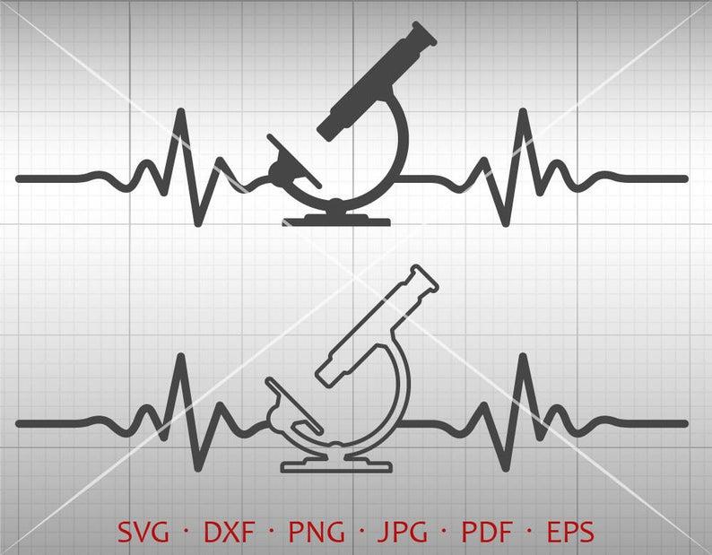 Microscope svg ekg lab. Heartbeat clipart medical