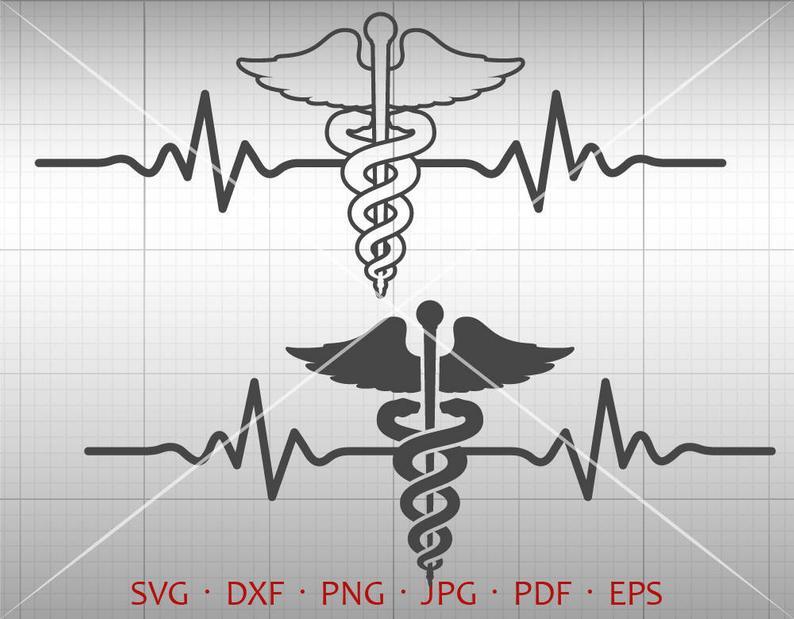 Caduceus svg ekg symbol. Heartbeat clipart medical