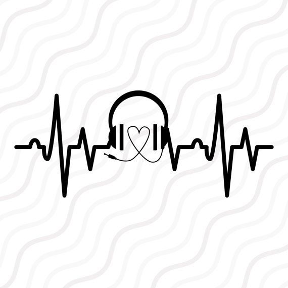 Svg cut table . Heartbeat clipart music