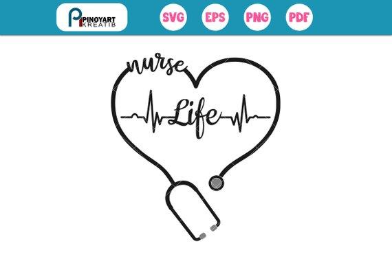 Heartbeat clipart nurse. Svg file life clip