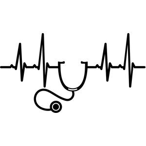 Silhouette design store stethoscope. Heartbeat clipart poor health
