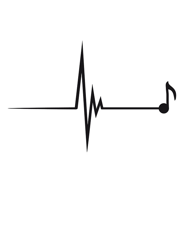 Heartbeat clipart pulse. Music note by panda