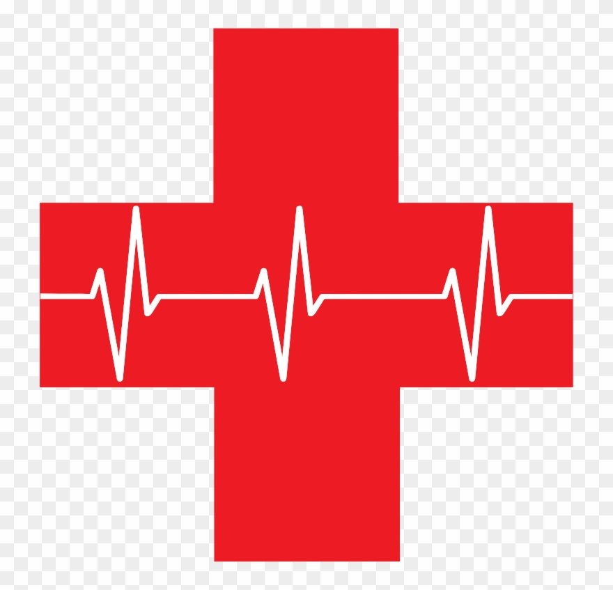 Medium image cross with. Heartbeat clipart red