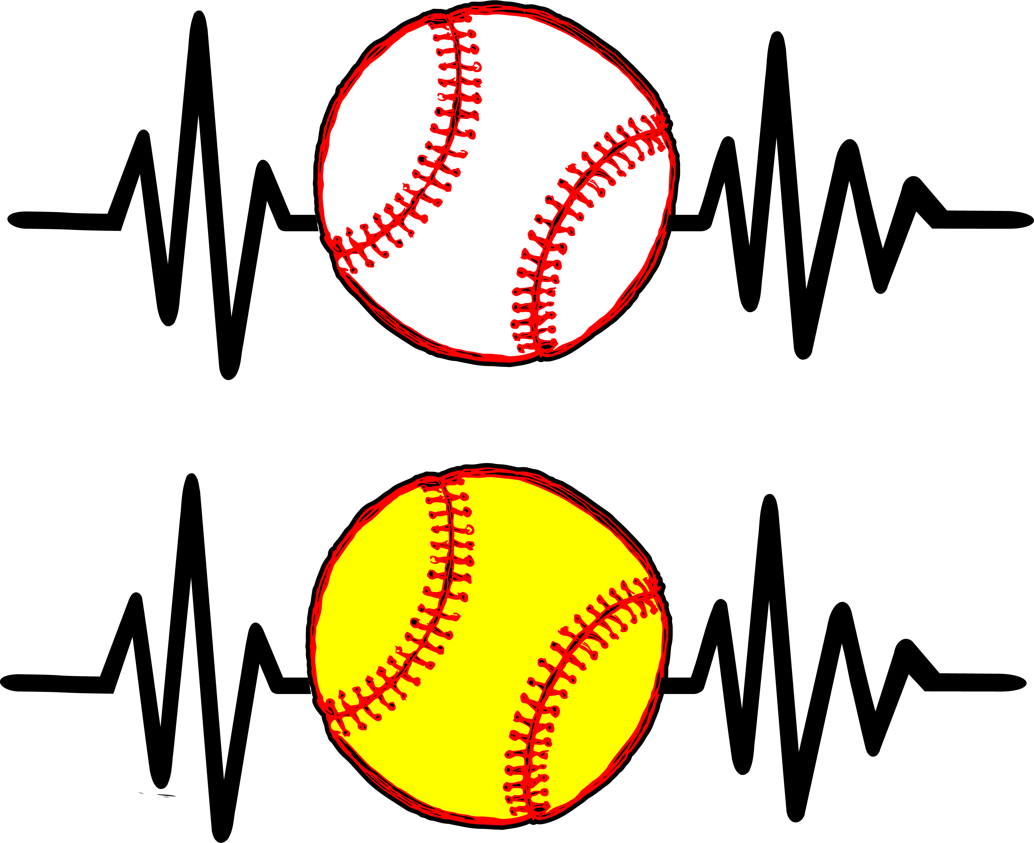 Heartbeat clipart softball. Baseball printed transfers sew