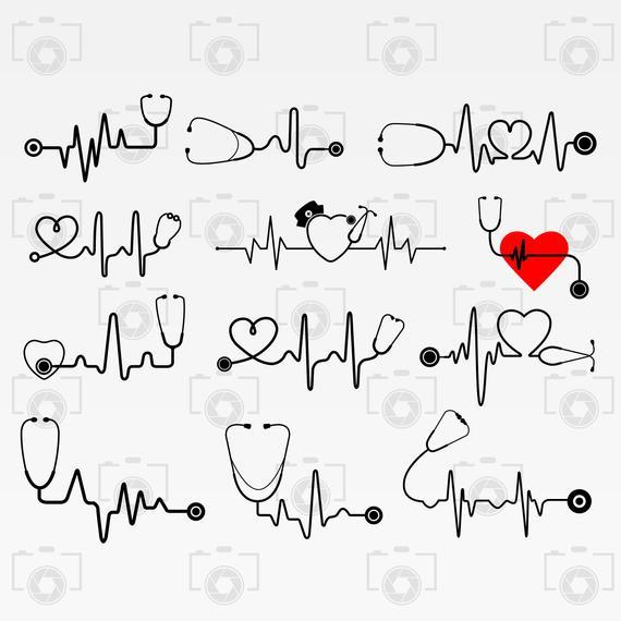 Heartbeat clipart stethoscope. Svg digital for design