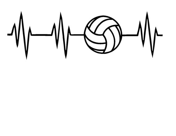Heartbeat clipart volleyball. Svg or silhouette instant