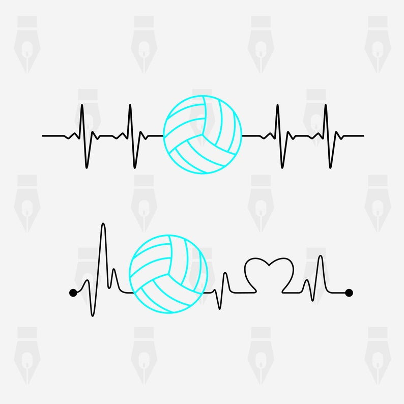 Digital file for design. Heartbeat clipart volleyball
