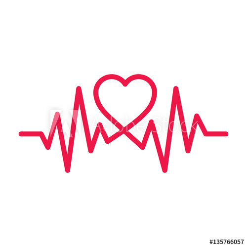 Heartbeat clipart white background. Thin line red icon