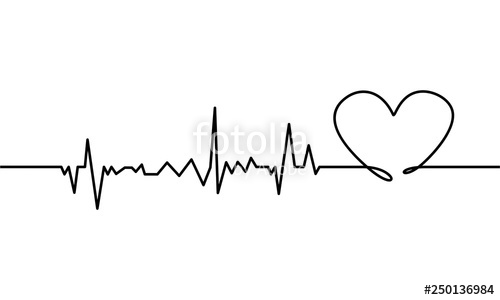 Heartbeat clipart white background. Continuous line drawing of