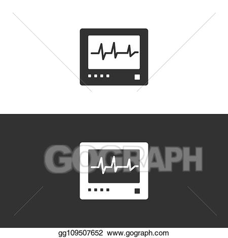 Heartbeat clipart white background. Vector heart rate monitor