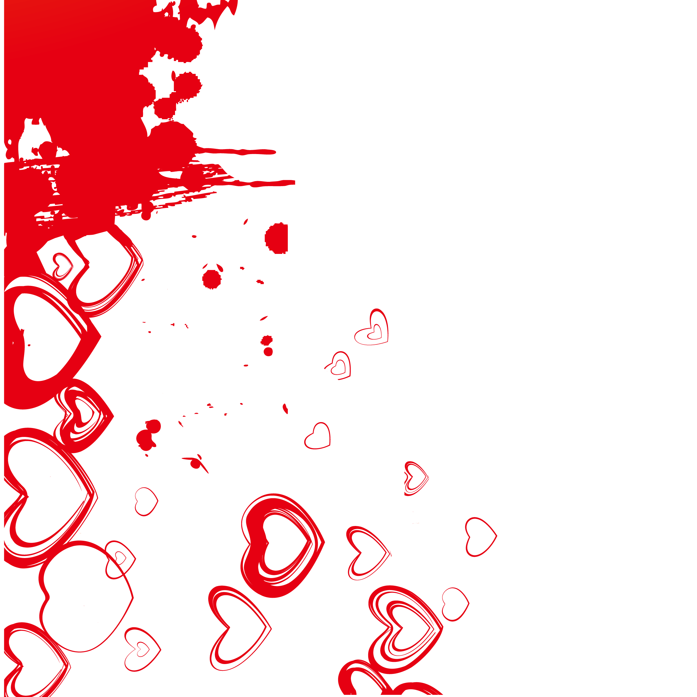 Red ink heart vector. Hearts background png