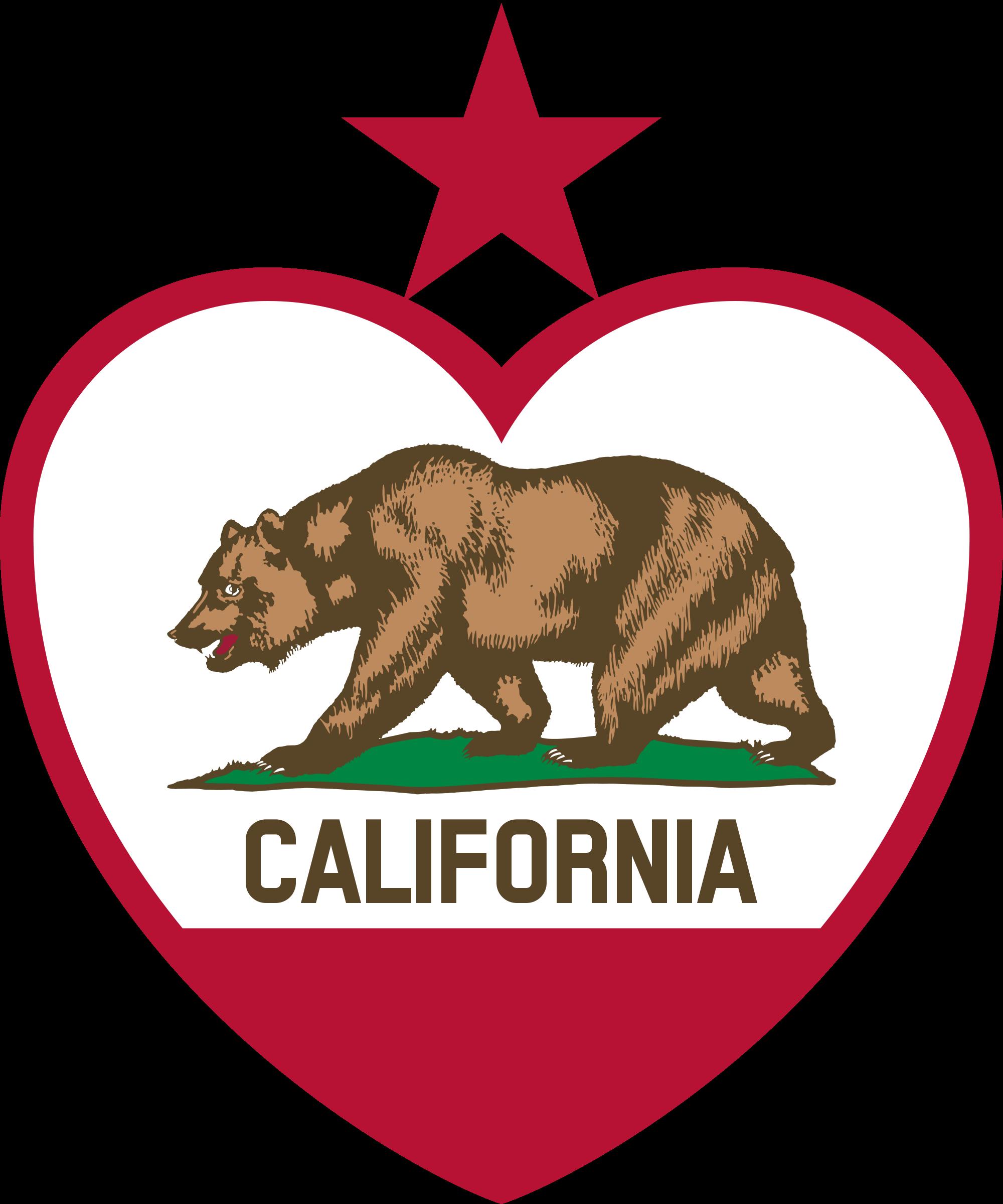 Hearts clipart bear. California flag heart star