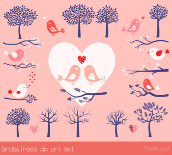 Birds and trees clip. Hearts clipart bird