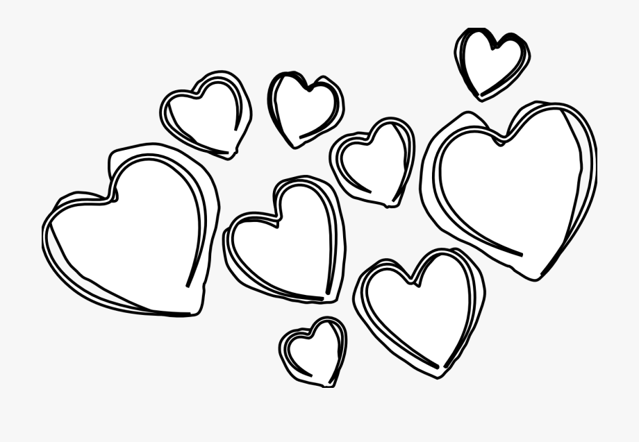Hearts clipart black and white, Hearts black and white ...