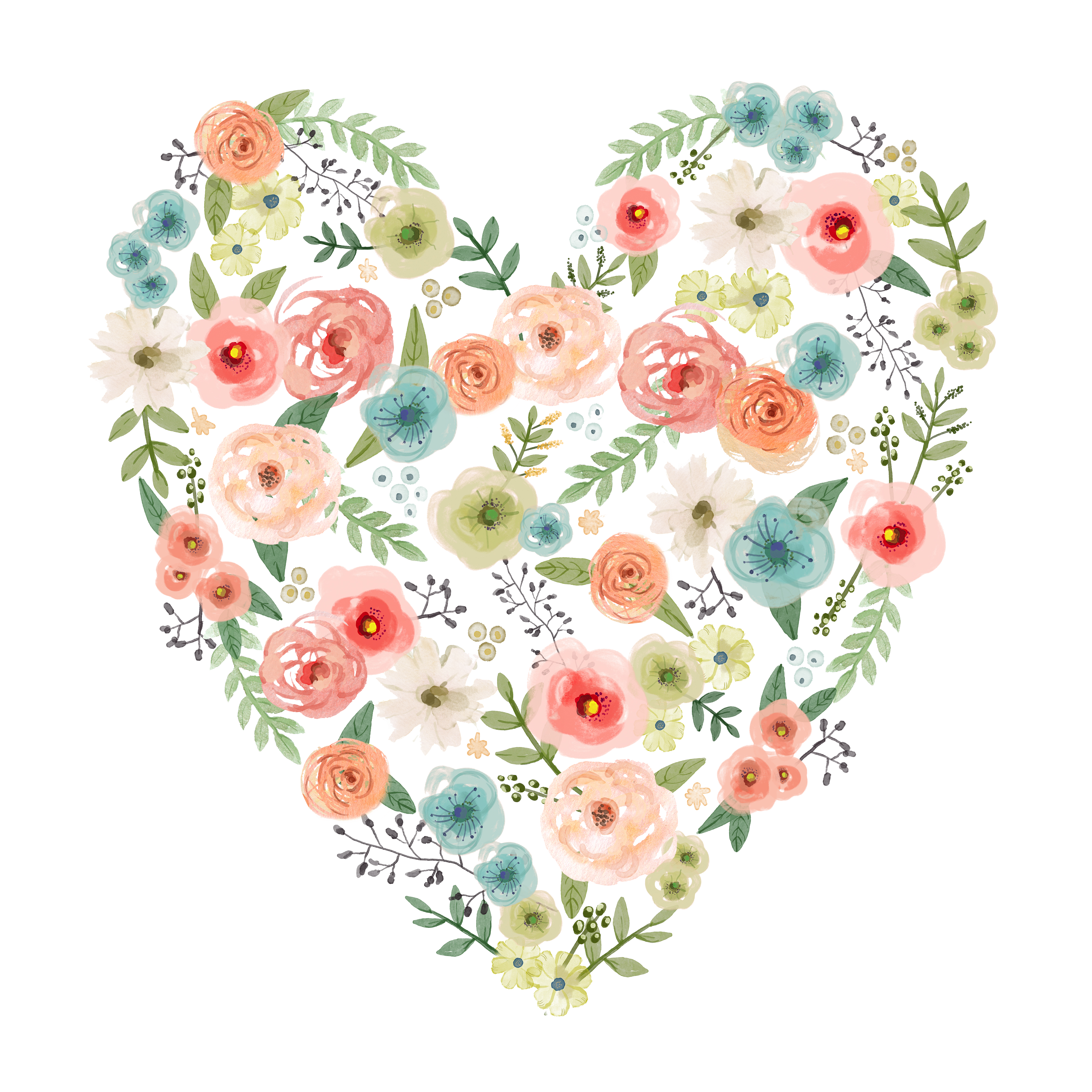 Hearts clipart bouquet. Wedding invitation watercolor painting