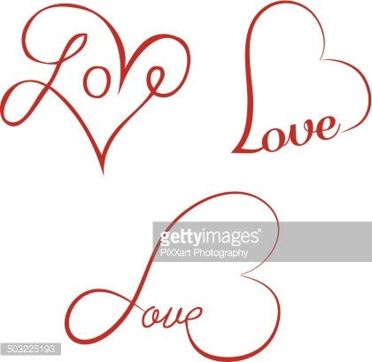 hearts clipart calligraphy