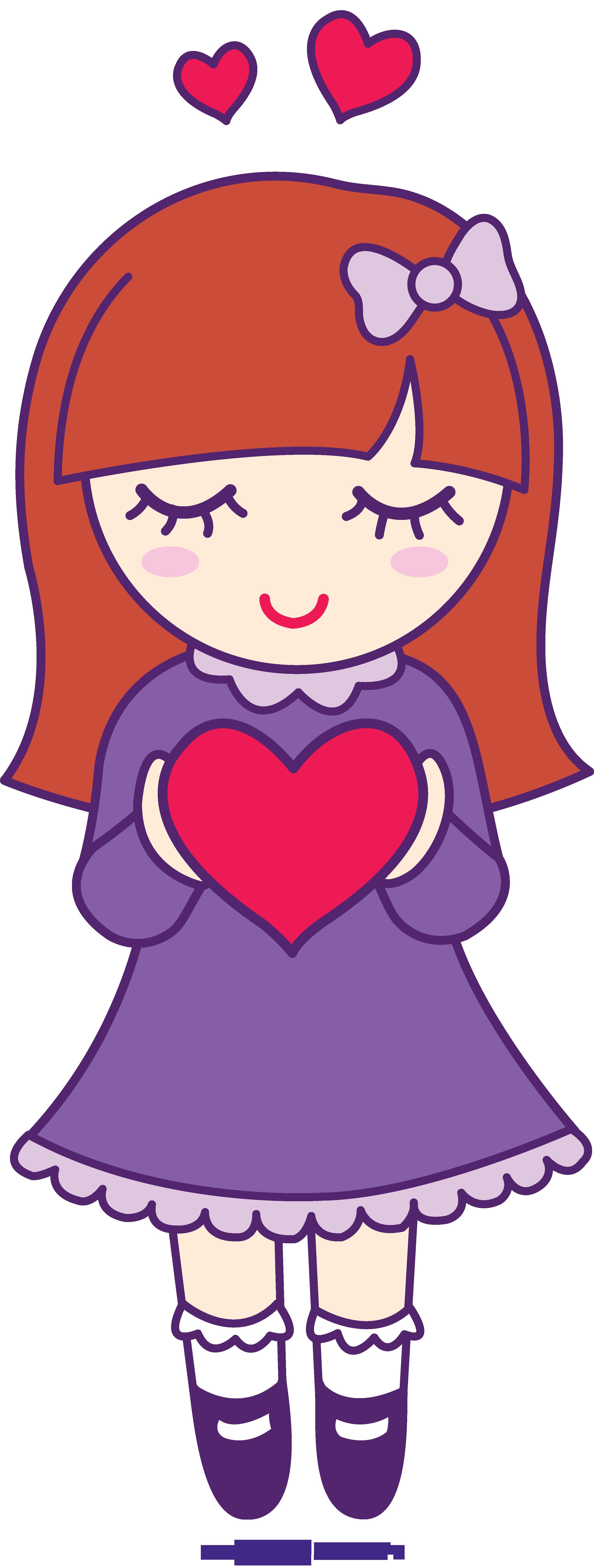 Valentine girl sweet clip. Hearts clipart cartoon