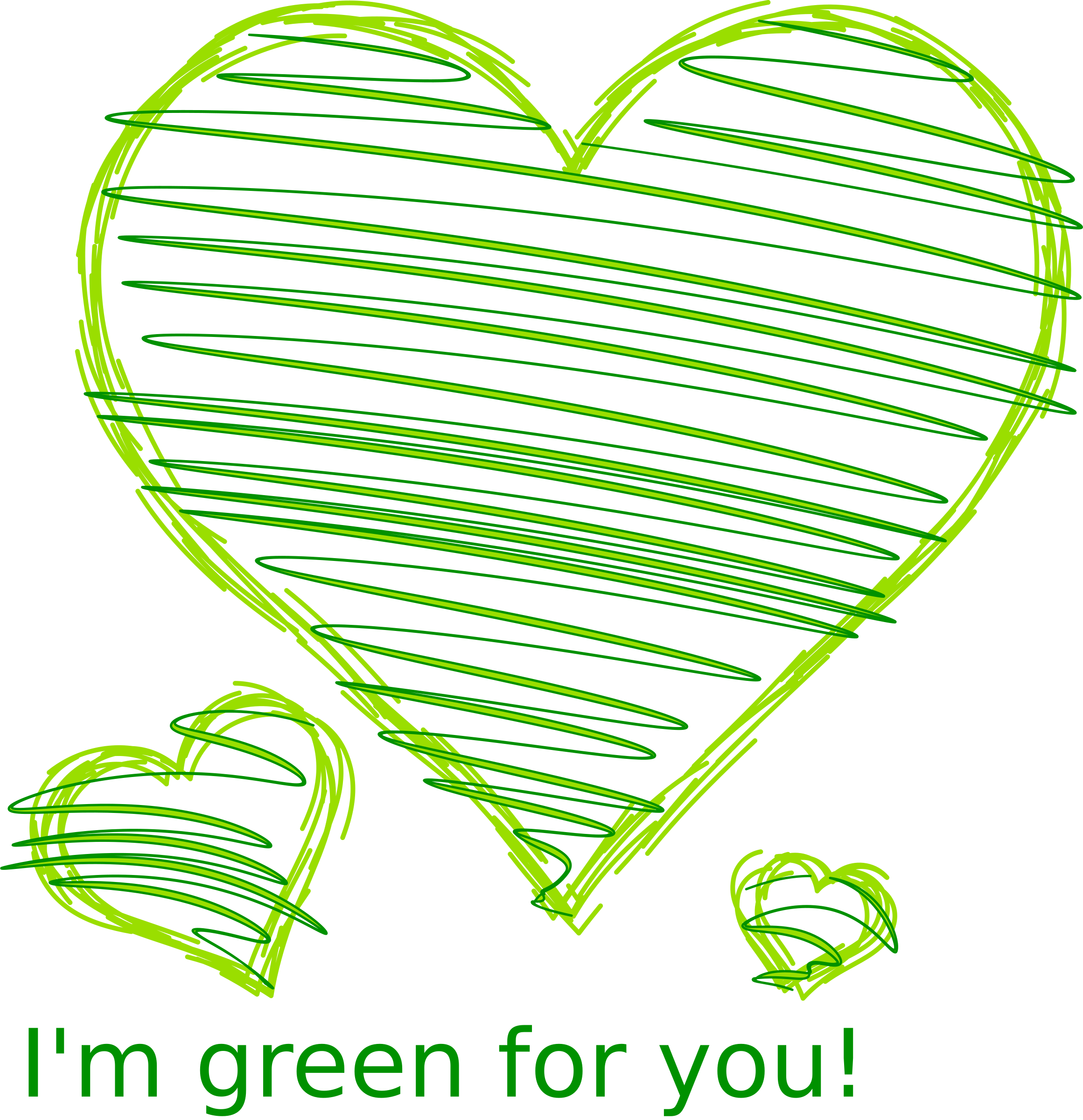 Hearts clipart crayon. I m green for