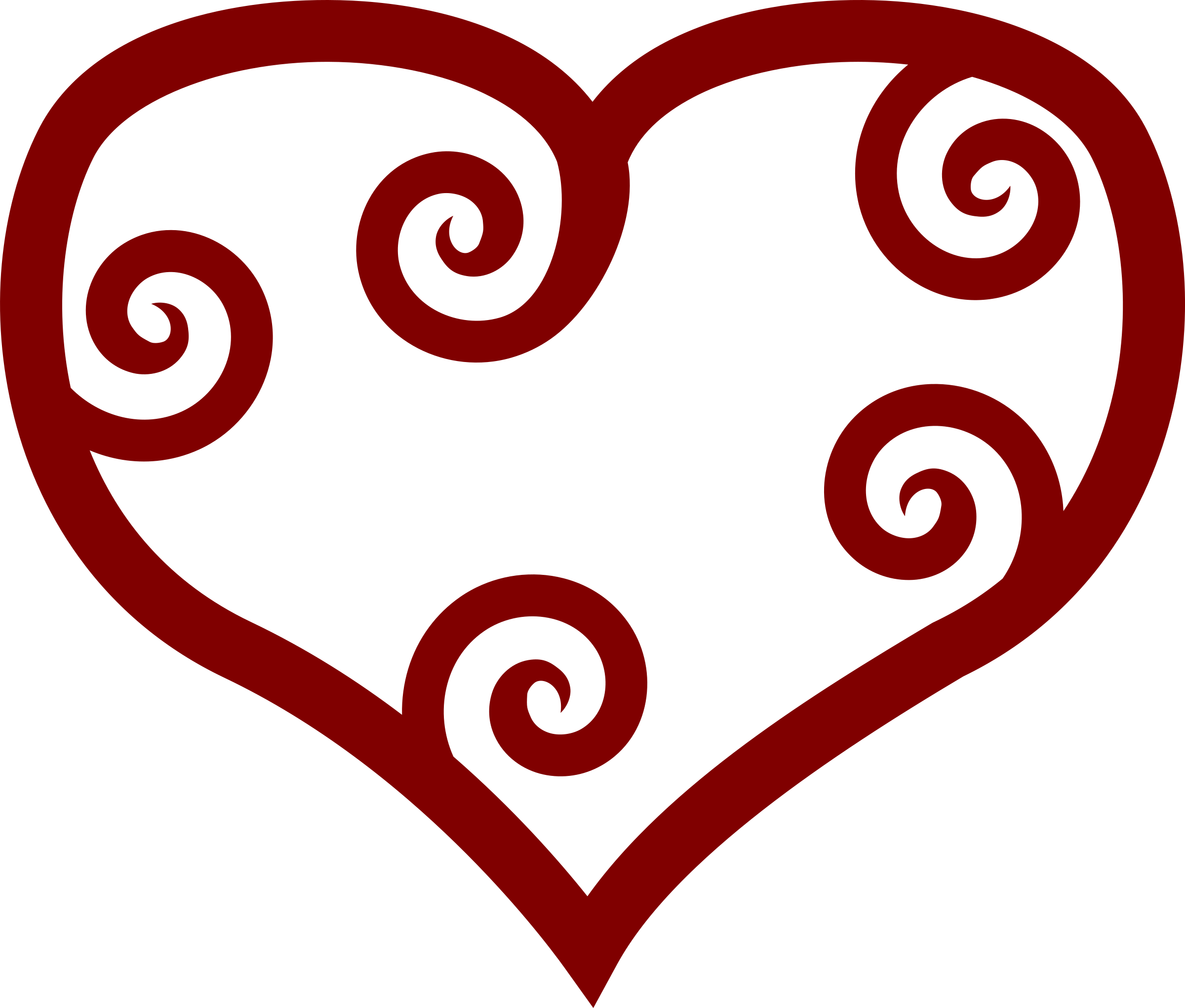 Valentine red maori heart. Hearts clipart fish hook