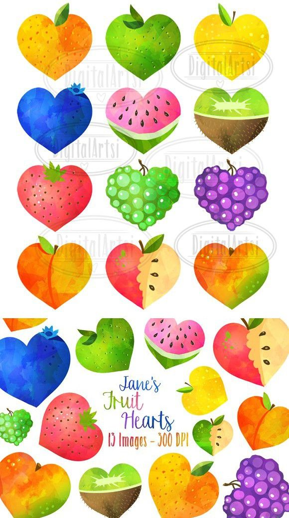 Watercolor best objects . Hearts clipart fruit