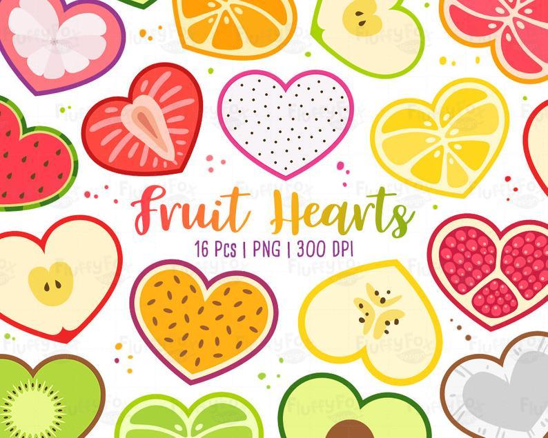 Hearts clipart fruit. Heart fruits clip art
