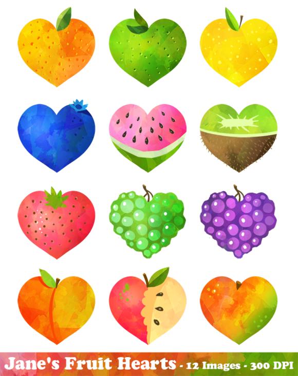 Hearts clipart fruit. Watercolor by digitalartsi on