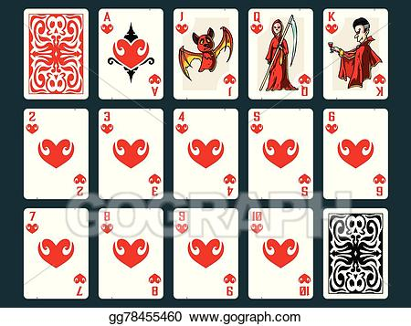 Vector playing cards . Hearts clipart halloween