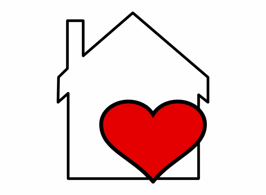 Png black and white. Hearts clipart house