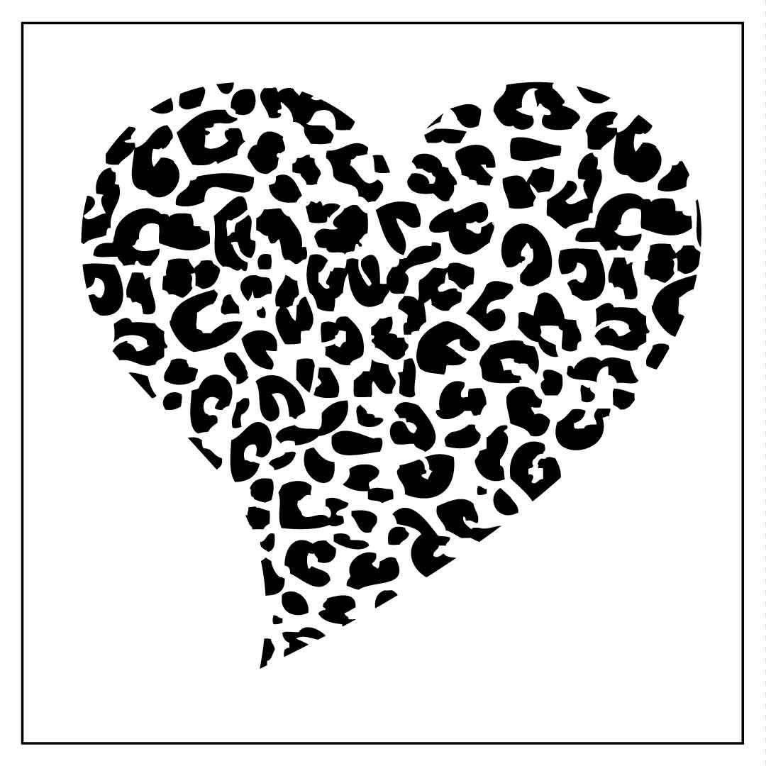 Reusable mil laser cut. Hearts clipart leopard print