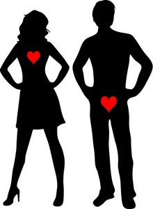 And woman standing next. Hearts clipart man