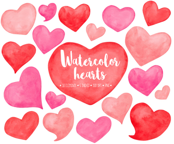 Hand painted watercolor red. Hearts clipart mothers day