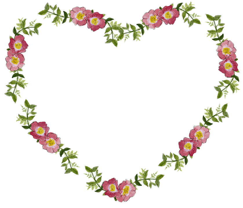 Collection of decorative cliparts. Hearts clipart plant