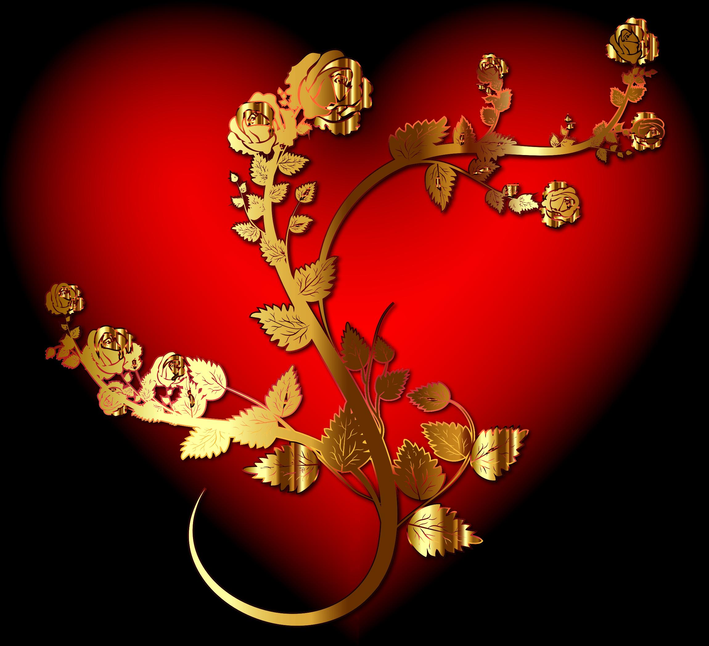 Hearts clipart rose. Golden heart enhanced big