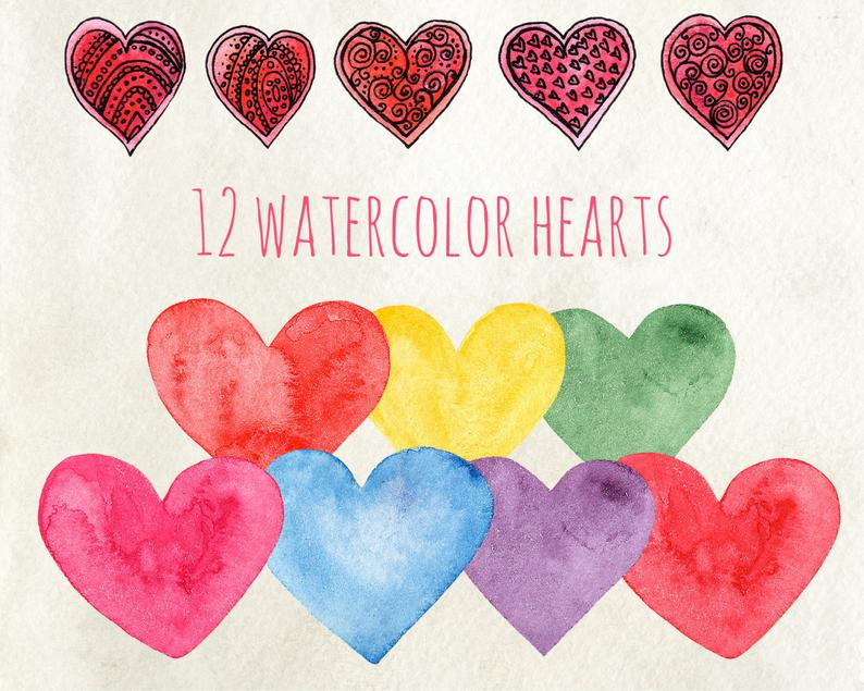 Valentines clip art watercolor. Hearts clipart sign
