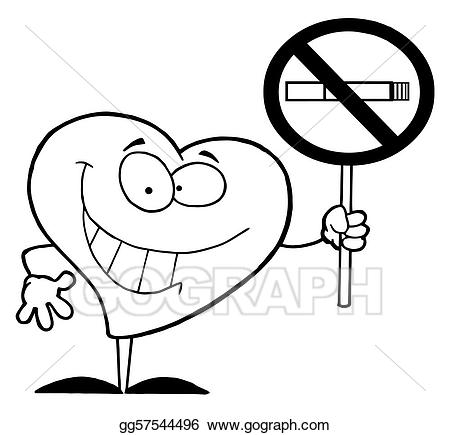 Eps illustration outlined heart. Hearts clipart smoking