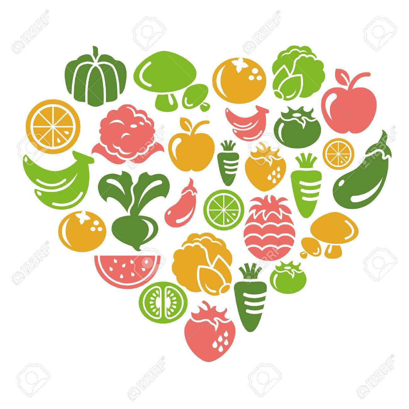 Hearts clipart vegetable. Heart clip art fruit