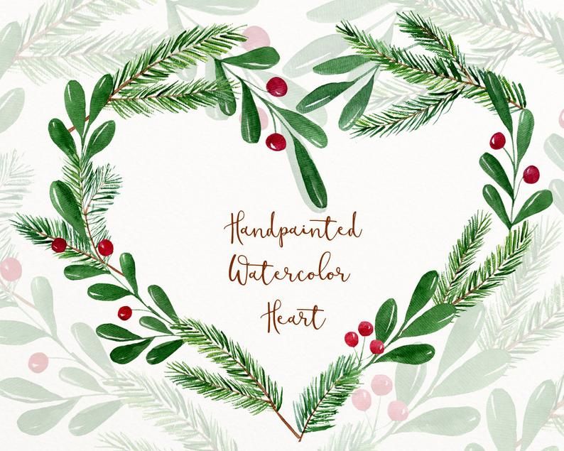 Hearts clipart winter. Watercolor clip art christmas