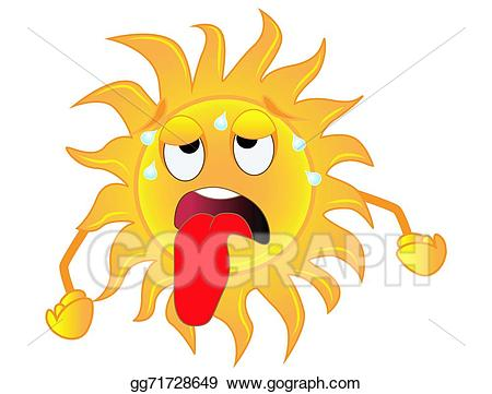 Vector stock sad sun. Heat clipart