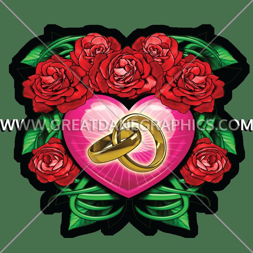 Roses production ready artwork. Heat clipart anniversary heart