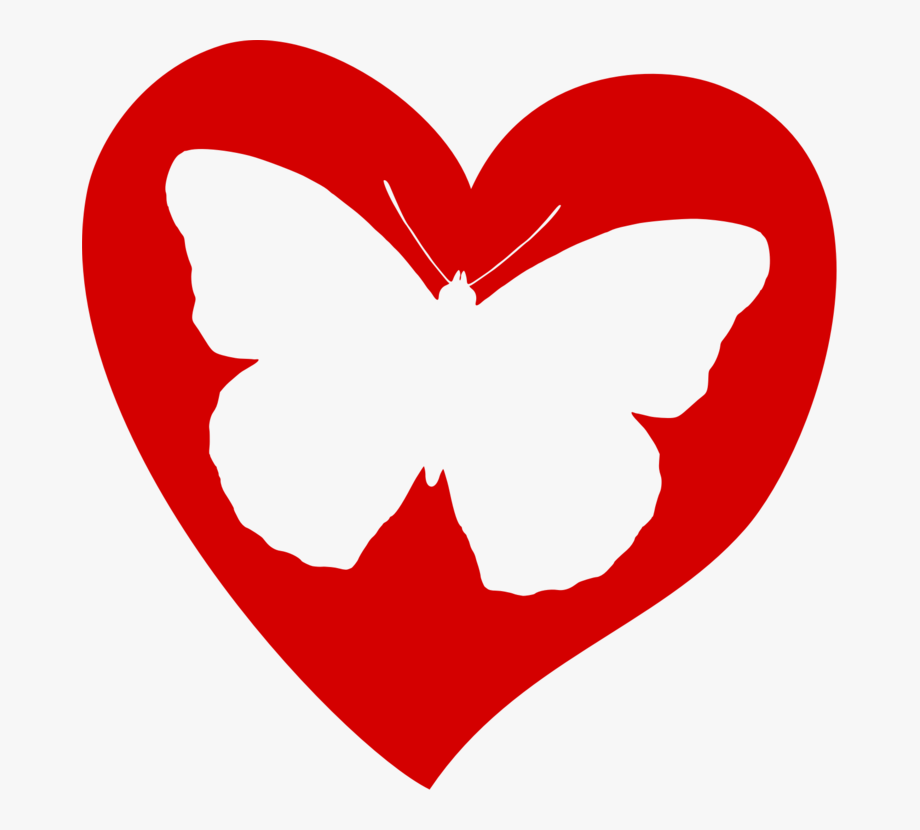 Butterfly in cliparts cartoons. Heat clipart connected heart