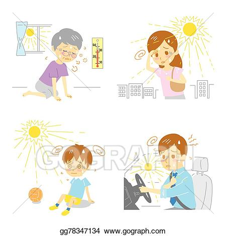 Vector illustration heatstroke exhaustion. Heat clipart heat stroke